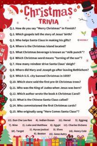 Christmas Trivia Worksheet meebily