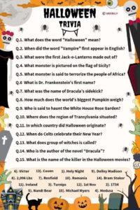 Halloween Trivia Worksheet