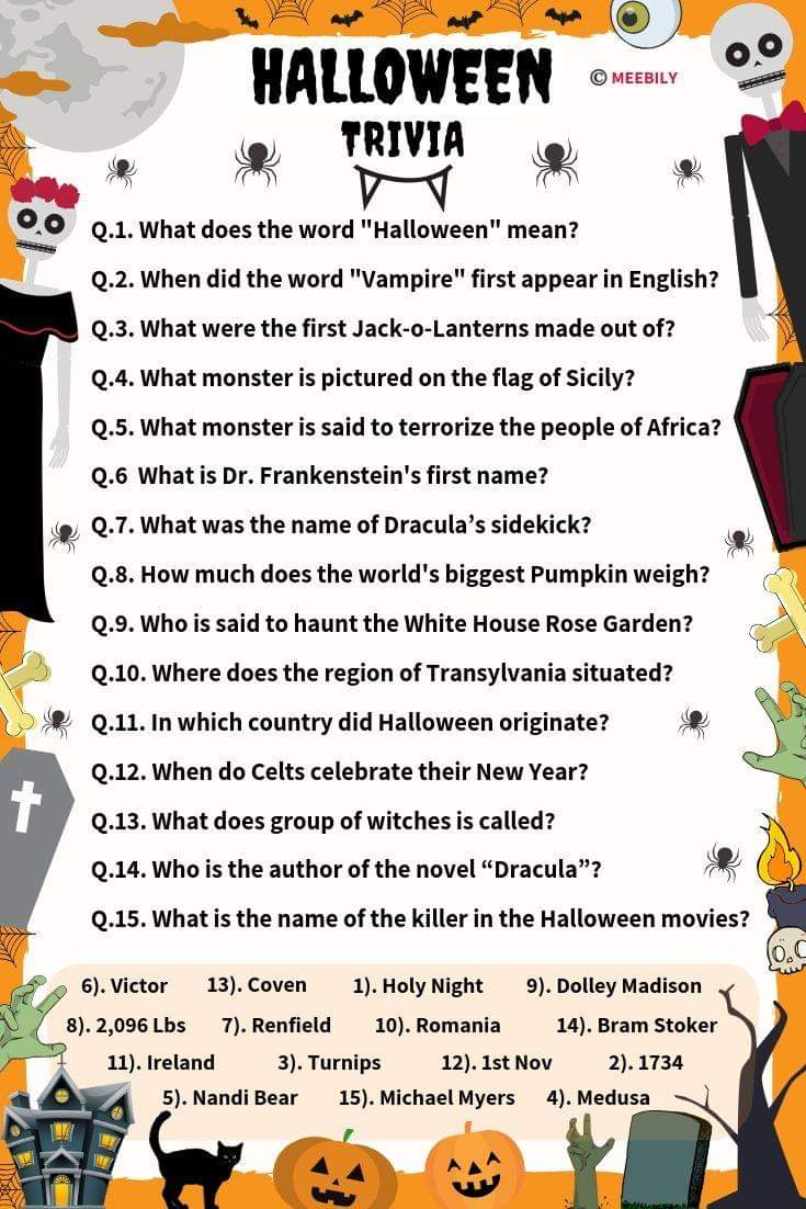 90+ Halloween Trivia Questions & Answers - Meebily