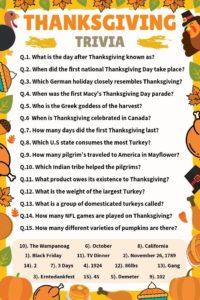 Thanksgiving Trivia Worksheet meebily