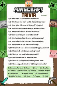 minecraft trivia question and answers worksheet meebily