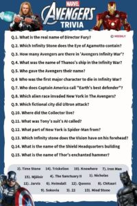 Avengers Trivia Questions & Answers Worksheet