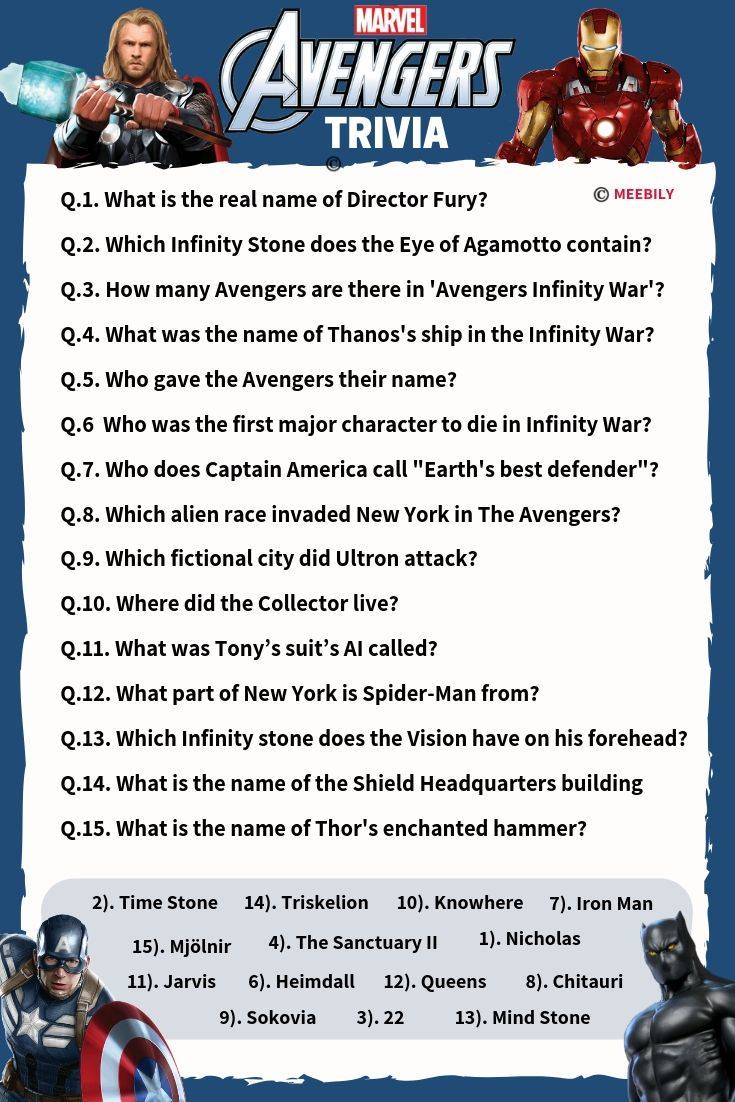 picture regarding Food Trivia Questions and Answers Printable referred to as 90+ Avengers Trivia Thoughts Remedies - Meebily