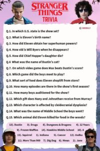 Stranger Things Trivia Worksheet