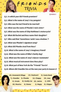 friends trivia question and answers Worksheet