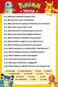Pokemon Trivia Questions Worksheet