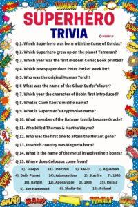 Superhero Trivia Questions & Answers Worksheet