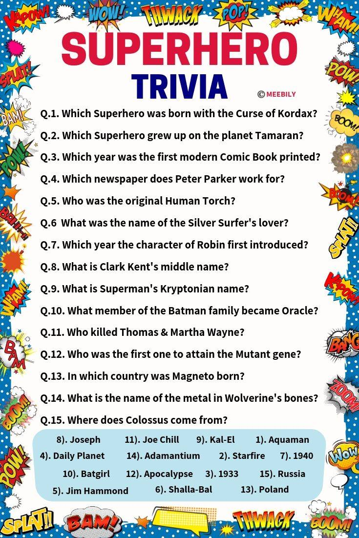 100+ Superhero Trivia Questions & Answers - Meebily