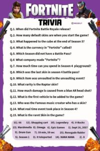 Fortnite Trivia Questions & Answers Worksheet