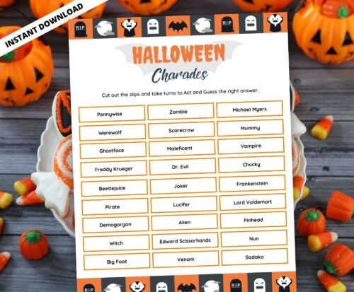 Halloween Charades Word Game
