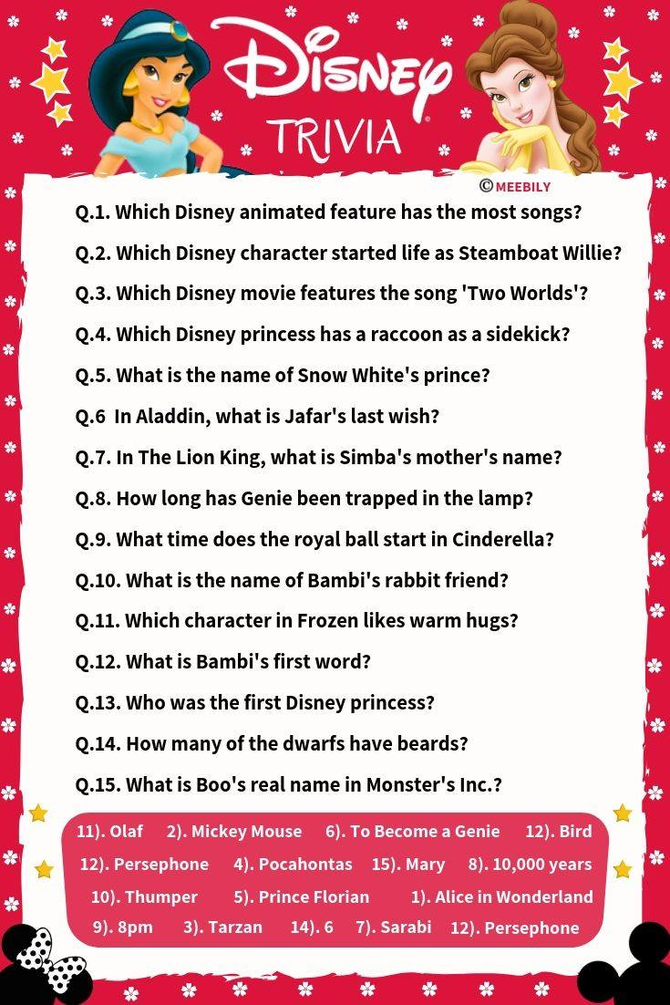 100+ Disney Movies Trivia Question & Answers - Meebily